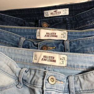 3 pairs of Hollister jeans light medium dark wash